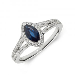 Gemstone Ring With 0.5ct Marquise Shape Blue Sapphire and Diamonds