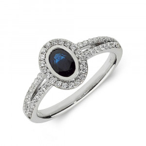 Gemstone Ring With 0.5ct Oval Shape Blue Sapphire and Diamonds