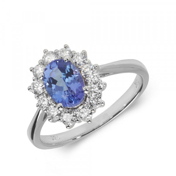Gemstone Ring With 1ct Oval Shape Blue Topaz and Diamonds