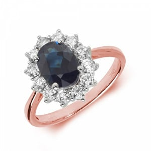 Gemstone Ring With 1.5ct Oval Shape Blue Sapphire and Diamonds