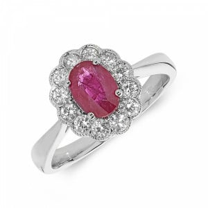 Gemstone Ring With 1ct Oval Shape Ruby and Diamonds