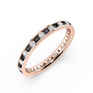Round Black ABELINI 9K Rose Gold Channel Setting Round Full Eternity Black and White Diamond Rings (Available in 2.5mm to 3.5mm)