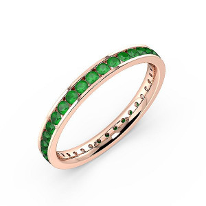 Channel Setting Full Eternity Gemstone Emerald Rings (Available in 2.5mm to 3.5mm)
