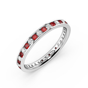 Channel Setting Full Eternity Diamond and Ruby Gemstone Rings (Available in 2.5mm to 3.5mm)