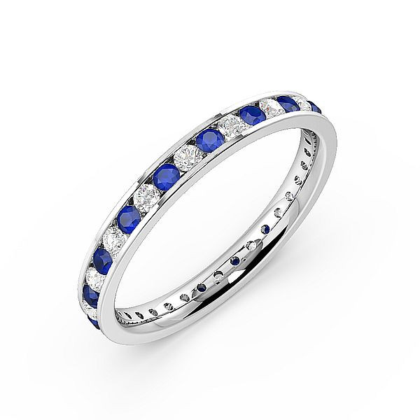 Channel Setting Full Eternity Diamond and Gemstone Sapphire Rings (Available in 2.5mm to 3.5mm)