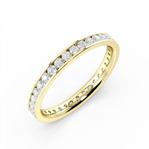 Round 0.50 3.5mm I1 H-I ABELINI 18K Yellow Gold Channel Setting Round Full Eternity Diamond Ring (Available in 2.5mm to 3.5mm)