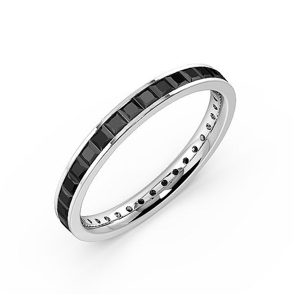Channel Setting Princess Full Eternity Black Diamond Rings (Available in 2.5mm to 3.5mm)