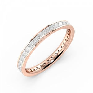 Princess VVS D-E ABELINI 18K Rose Gold Channel Setting Princess Full Eternity Diamond Ring (Available in 2.5mm to 3.5mm)