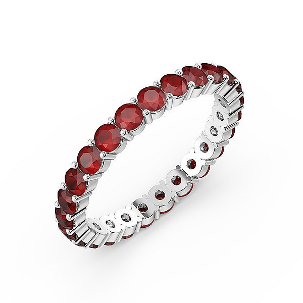 Prong Setting Full Eternity Ruby Gemstone Rings (Available in 2.5mm to 3.5mm)