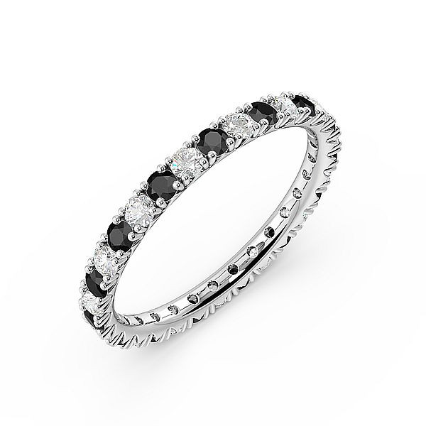 Diamond Cut Prongs Set Round Full Eternity Black and White Diamond Rings (Available in 2.5mm to 3.5mm)