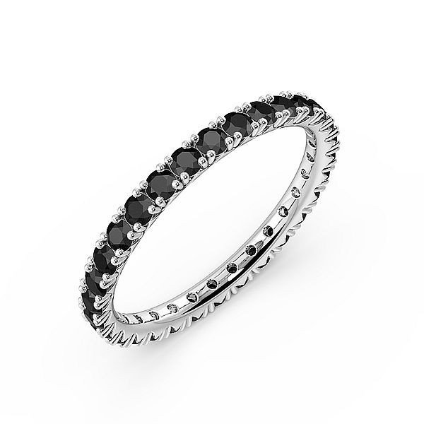 Diamond Cut Prongs Set Round Full Eternity Black Diamond Rings (Available in 2.5mm to 3.5mm)