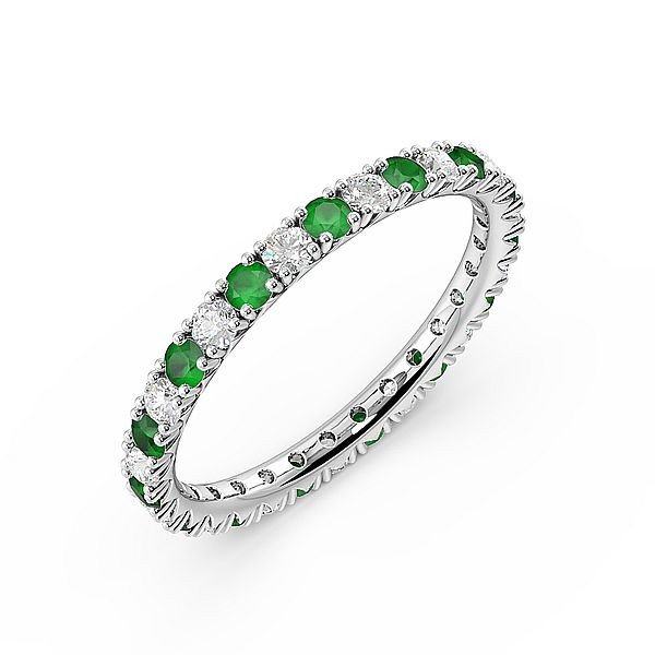Diamond Cut Prongs Set Full Eternity Diamond and Gemstone Emerald Rings (Available in 2.5mm to 3.5mm)