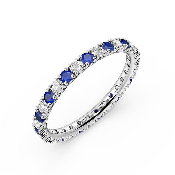Diamond Cut Prongs Set Full Eternity Diamond and Gemstone Sapphire Rings (Available in 2.5mm to 3.5mm)