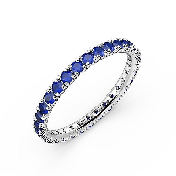 Diamond Cut Prongs Set Full Eternity Gemstone Sapphire Rings (Available in 2.5mm to 3.5mm)