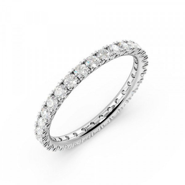 Diamond Cut Prong Setting Round Full Eternity Diamond Ring (Available in 2.0mm to 3.0mm)