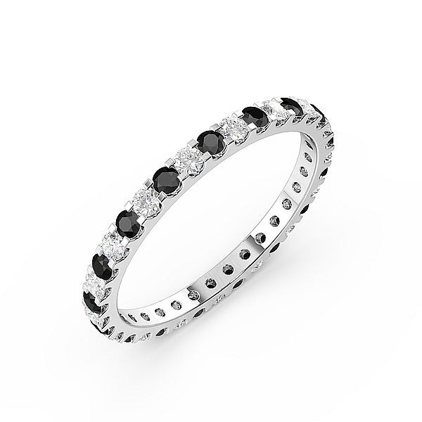 Classic Prongs Set Round Full Eternity Black and White Diamond Rings (Available in 2.5mm to 3.5mm)