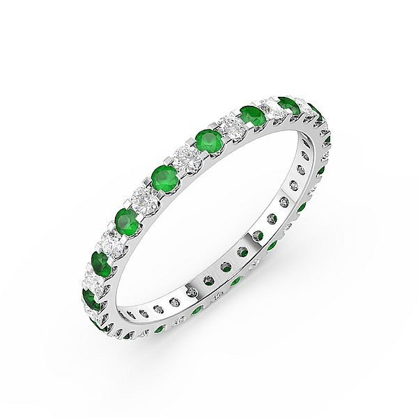 Classic Prongs Set Full Eternity Diamond and Gemstone Emerald Rings (Available in 2.5mm to 3.5mm)