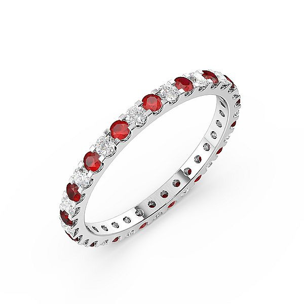 Classic Prongs Set Full Eternity Diamond and Ruby Gemstone Rings (Available in 2.5mm to 3.5mm)