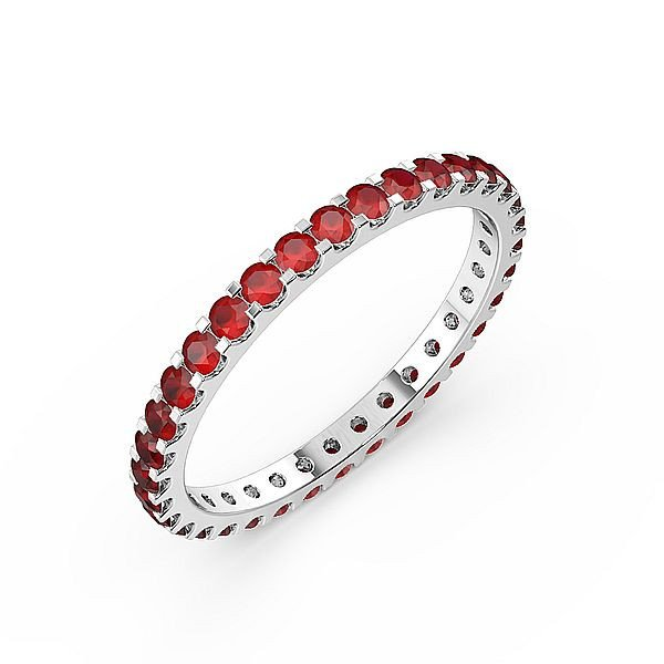 Classic Prongs Set Full Eternity Ruby Gemstone Rings (Available in 2.5mm to 3.5mm)