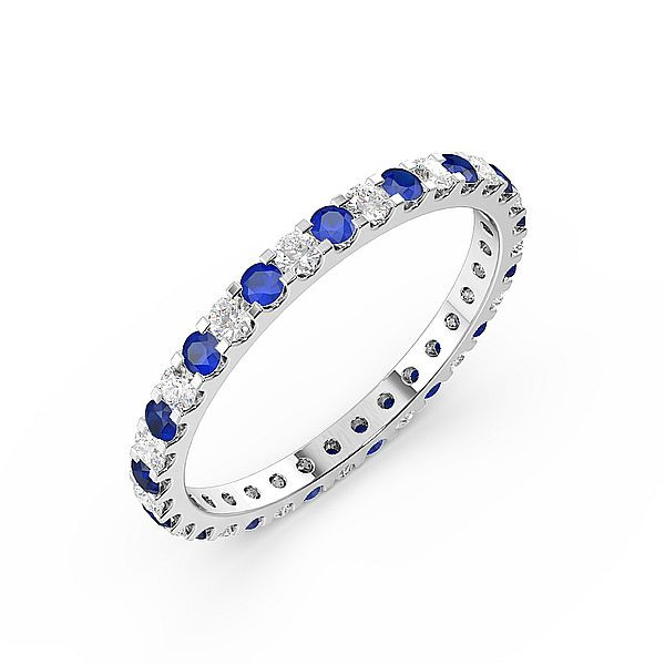 Classic Prongs Set Full Eternity Diamond and Gemstone Sapphire Rings (Available in 2.5mm to 3.5mm)