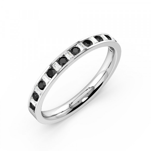Channel Setting Round Half Eternity Black and White Diamond Rings (Available in 2.5mm to 3.5mm)