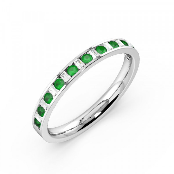 Channel Setting Round & Baguette Half Eternity Diamond and Gemstone Emerald Rings (Available in 2.5mm to 3.5mm)