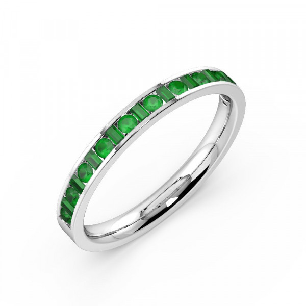 Channel Setting Round & Baguette Half Eternity Gemstone Emerald Rings (Available in 2.5mm to 3.5mm)