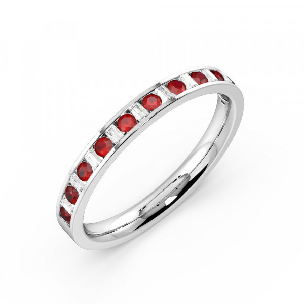 Channel Setting Round & Baguette Half Eternity Diamond and Ruby Gemstone Rings (Available in 2.5mm to 3.5mm)
