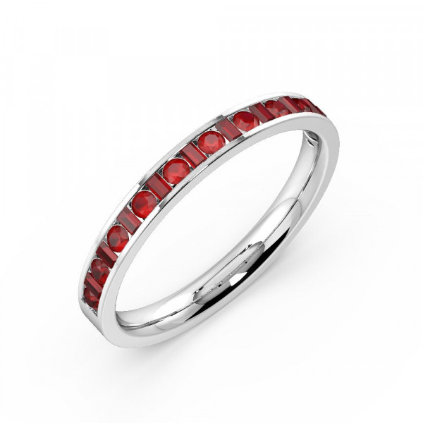 Channel Setting Round & Baguette Half Eternity Ruby Gemstone Rings (Available in 2.5mm to 3.5mm)
