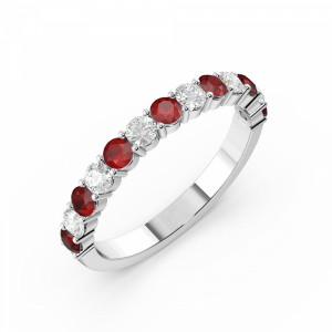Prong Setting Round Half Eternity Diamond and Ruby Ring