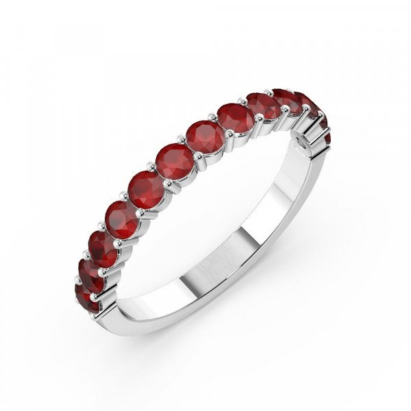 Prong Setting Round Half Eternity Ruby Ring