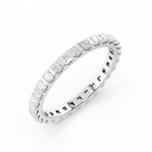 Bar Setting Princess Shape Full Eternity Diamond Wedding Bands