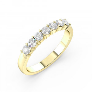 Prong Setting Round Shape 7 Stone  Diamond Rings