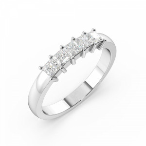 Princess 1.00 VS D-E ABELINI 950 Platinum Prong Setting Princess Shape 5 Stone Diamond Rings