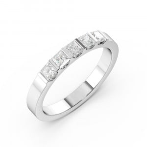 Princess 1.00 VS D-E ABELINI 950 Platinum Bar Setting Princess Shape 5 Stone Diamond Rings