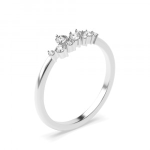 4 Prong Setting Designer Diamond Cluster Ring in Gold & Platinum (4.80mm)