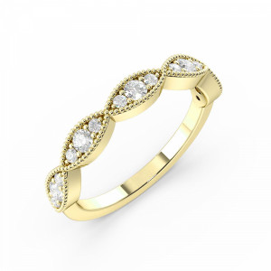 Pave Setting Round Diamond Gold And Platinum Eternity Ring (2.3Mm)