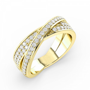 Pave Setting Kissing Style Round Shape Diamond Designer Rings Uk