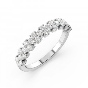 Modern Style Prong Setting Round Shape Half Eternity Designer Rings(3.40Mm)