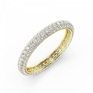 Pave Setting Round Shape Full Eternity Diamond Wedding Rings(3.00Mm)