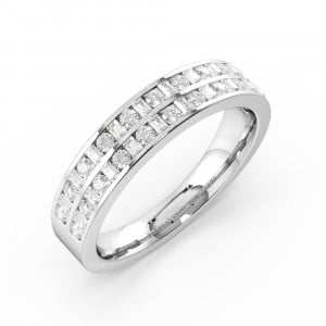 Two Row Channel Set Round And Baguette Diamond Half Eternity Ring Gold(4.50Mm)