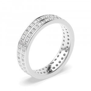 Two Row Of Channel Set Princess Diamond Full Eternity Band(4.50Mm)