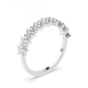 Round 0.30 I1 H-I ABELINI 9K White Gold 4 Prong Setting Star Cluster Diamond Half Eternity Ring for Her (4.20mm)