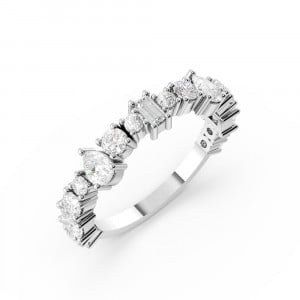 4 Prong Setting Mix Shape Unique Design Diamond Half Eternity Ring (4.50mm)