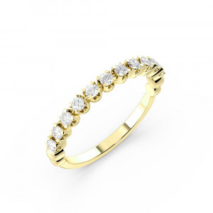 4 Prong Setting U Shape Setting Diamond Half Eternity Ring (2.50mm)
