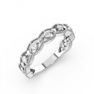 Round 0.15 I1 H-I ABELINI 9K White Gold 4 Prong Setting Vintage Art Deco Stackable Diamond Half Eternity Ring (4.00mm)