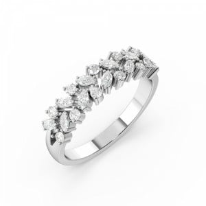 4 Prong Round/Marquise Shape Designer Half Diamond Eternity Ring (4.60mm)