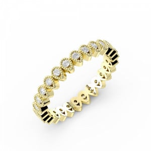 Round Shape Miligrain Drop Shape Full Diamond Eternity Stackable Ring (3.00mm)