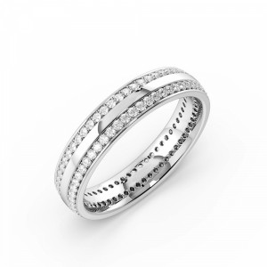 Pave Setting Round Shape 2 Raw Full Eternity Diamond Wedding Band (4.30mm)