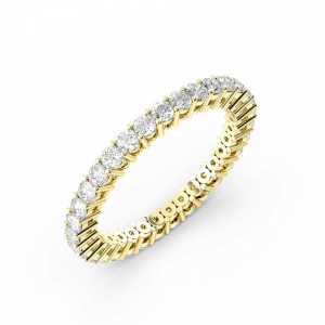 4 Prong Round Shape Classic Full Diamond Eternity Ring (2.00mm - 3.00mm)
